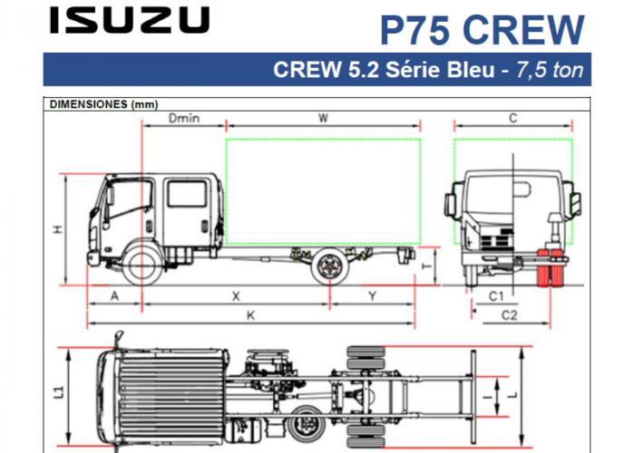 Fichas técnicas y Listado precios Isuzu P75 5.2 Crew